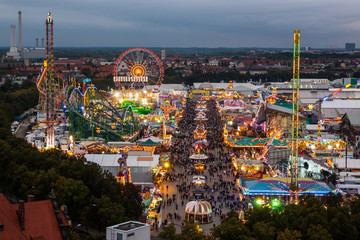 View of the Oktoberfest in Munich at night.