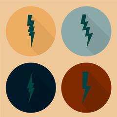 Flat lightning symbols set.