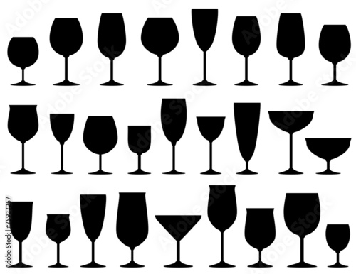 set of isolated wine and dessert glasses - 75927257