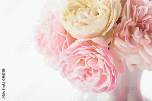 Foto op Canvas Madeliefjes Pink roses bunch