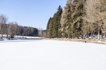 pond under snow in winter