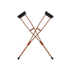 Two crossed retro crutches