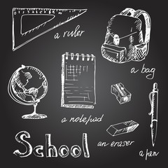 Hand drawn school object set. Vector illustration.