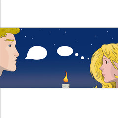 Vector iilustration of a young couple on a date
