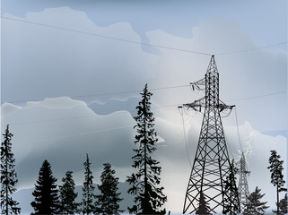electric power pylons in grey forest