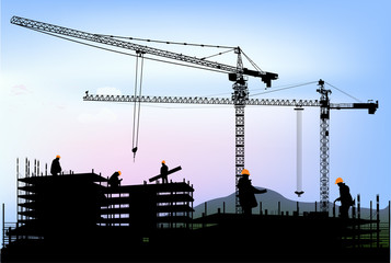 five workers and two cranes building house