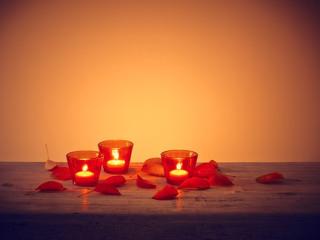 Blätter Tisch Kerze