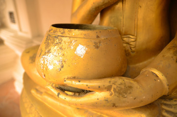 Alms bowl Golden colour for the Buddha image