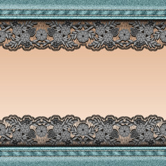 Denim background with black lace ribbon sewn