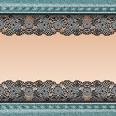 Denim background with black lace ribbon sewn