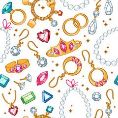 Jewelry items seamless light background.