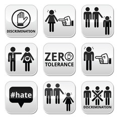 Stop discrimination of men, and women buttons set