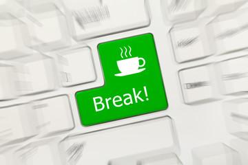 White conceptual keyboard - Break (green key). Zoom effect