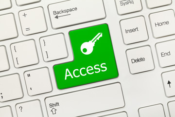 White conceptual keyboard - Access (green button with key symbol