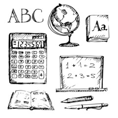 Background with education icons set. Sketch.
