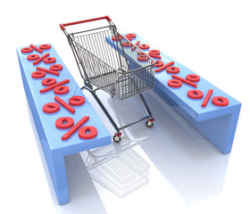 Shopping cart and red percentages