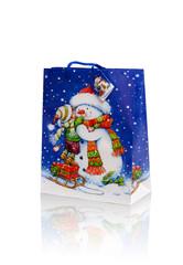 Christmas present bag over white