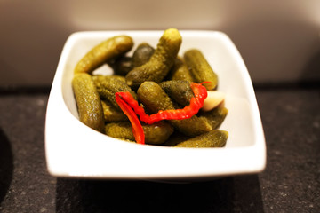 Food preparation pickled gherkins