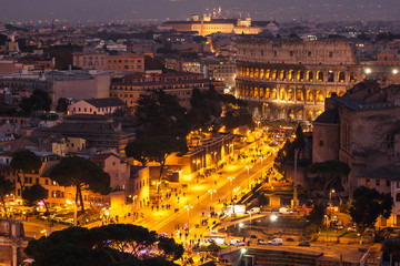 Cityscape of Rome at night.