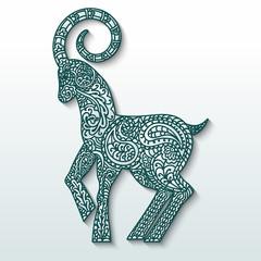 White goat of patterned paper - a symbol of  2015 Stylization.