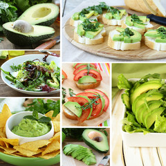 Set salads and appetizer with fresh avocado