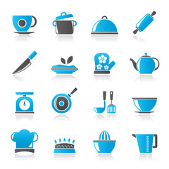 Restaurant and kitchen items icons -  vector icon set
