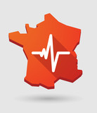 France map icon with a heart beat sign