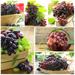 Set different variety red grapes  on a wooden table