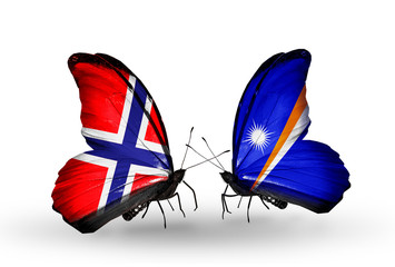 Two butterflies with flags Norway and Marshall islands