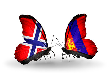 Two butterflies with flags Norway and Mongolia