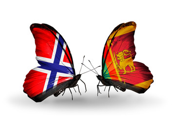 Two butterflies with flags Norway and Sri Lanka
