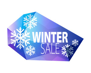 Winter sale faceted glass icon.