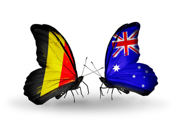 Two butterflies with flags Belgium and Australia