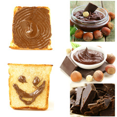 collage chocolate hazelnut spread on toast for breakfast