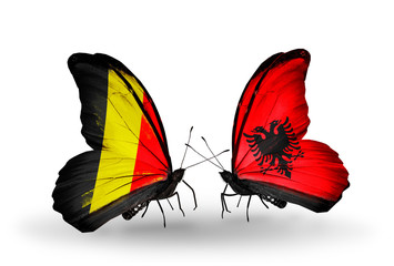 Two butterflies with flags Belgium and Albania