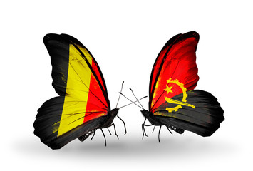 Two butterflies with flags Belgium and Angola