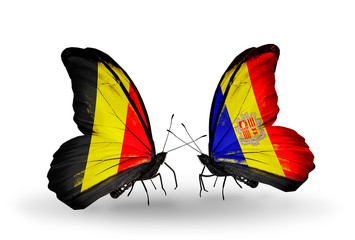 Two butterflies with flags Belgium and Andorra