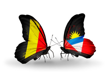 Two butterflies with flags Belgium and Antigua and Barbuda