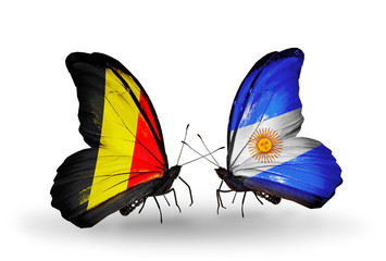 Two butterflies with flags Belgium and Argentina