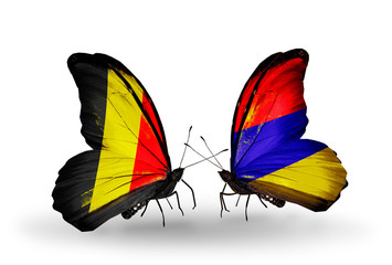 Two butterflies with flags Belgium and Armenia