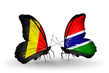 Two butterflies with flags Belgium and Gambia