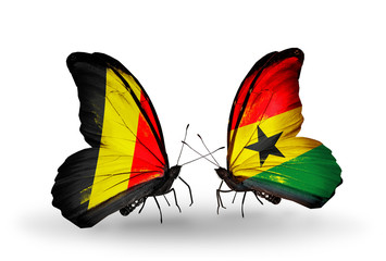 Two butterflies with flags Belgium and Ghana