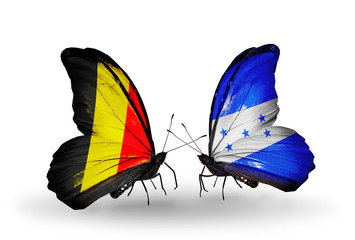 Two butterflies with flags Belgium and Honduras
