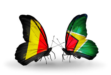 Two butterflies with flags Belgium and Guyana
