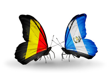Two butterflies with flags Belgium and Guatemala