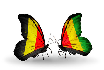 Two butterflies with flags Belgium and Guinea