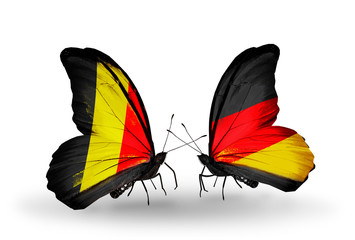 Two butterflies with flags Belgium and Germany