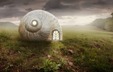 Surreal artistic image with a Snail and shell house