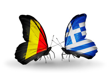 Two butterflies with flags Belgium and Greece