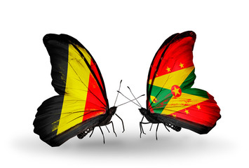 Two butterflies with flags Belgium and Grenada